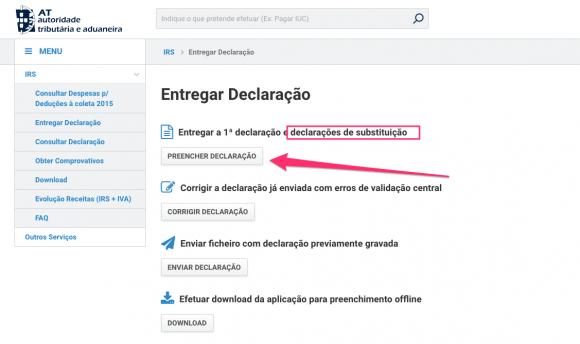 A opção para entrega de declarações de substituição é a mesma da entrega pela 1ª vez.