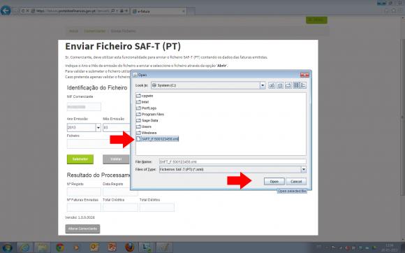 Escolha o ficheiro SAFT-T guardado no seu computador.