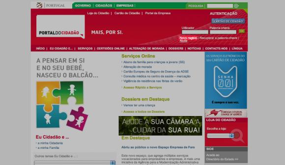 Criar novo registo no Portal do Cidadão