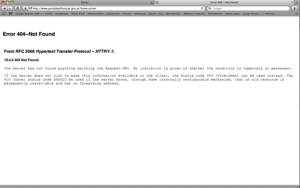 Erro 404 do Portal das Finanças