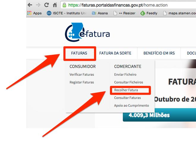 Recolher manual de faturas no Portal das Finanças