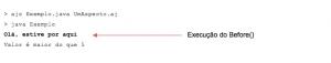 Exemplo de uma hipotética execução de um sistema com AspectJ
